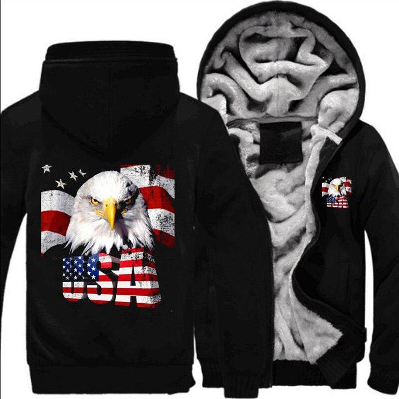 Personnalité mode chauve-souris manteau décontracté drapeau américain à capuche Zipper Hoodies automne hiver hommes vestes