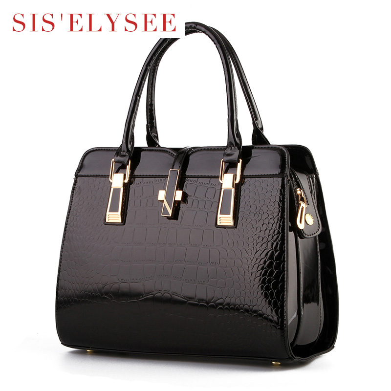 41eaa3de2 Women Famous Brands Designer Handbags Fashion Medium Size Tote Bag  Alligator High Quality Purse Female Pu leather Bags-in Top-Handle Bags from  Luggage ...