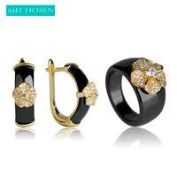 MECHOSEN Luxury Copper Earrings Rings Jewelry Sets White Ceramic Anneaux Gold Flower Brincos Ensemble De Bijoux