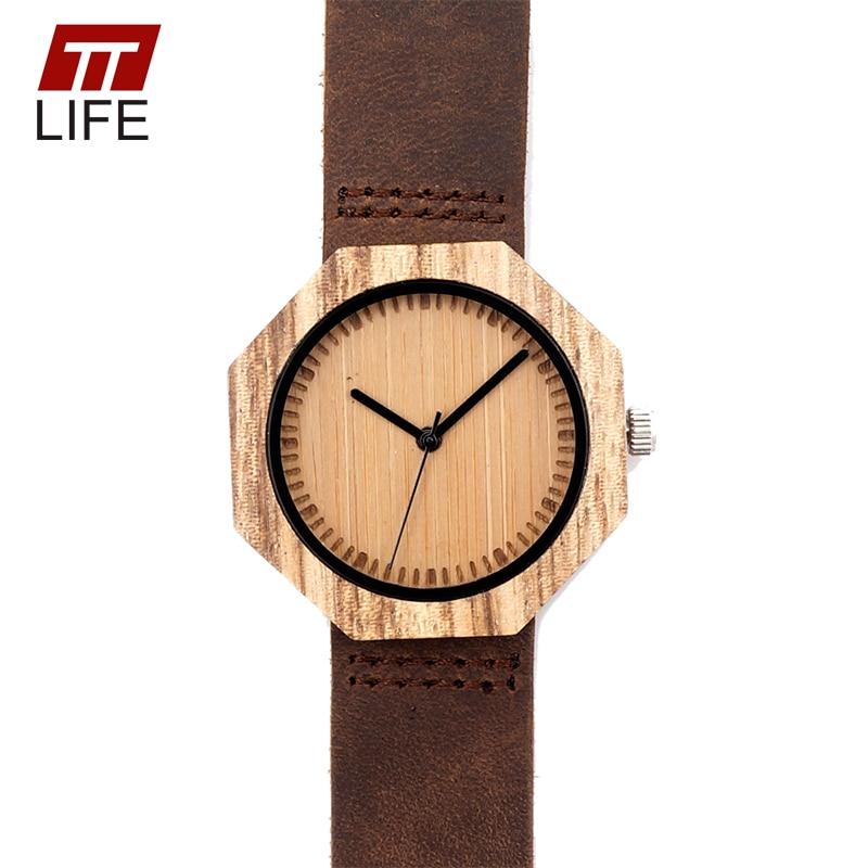 ФОТО TTLIFE Mens Womens Zebra Ebony Bamboo Wooden Quartz Watches Octagon Design Leather Strap Luxury Brand 2017 in Metal Box WD241