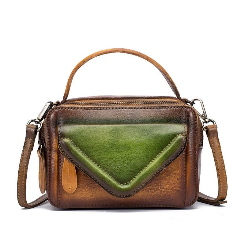 все цены на Unique Color-mixing Designer Genuine Leather Women's Small Flap Pocket Bag Real Cowhide Mini Purse Handbag Female Messenger Bag