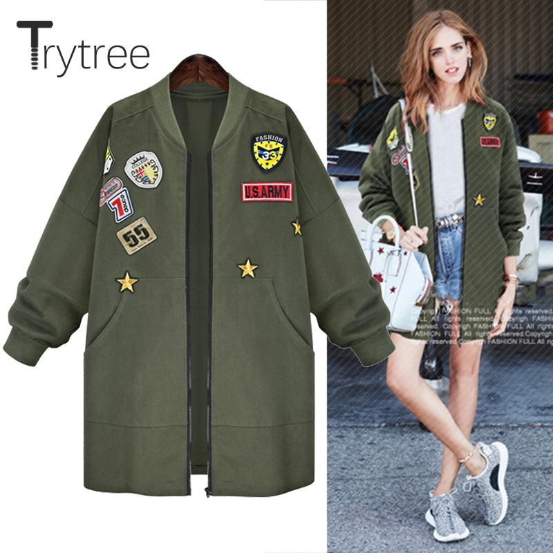 Ttytree Autumn Winter Casual Coat Cotton and Polyester Zippers Women Thicken Epaulet Full sleeves O-neck fasion Cotton Tops Coat
