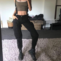 Liva Girl Women Hip Pop Loose Long Jogger Pants Rompers Casual Cotton Womens Trousers for Ladies Strap Backless Cargo Overalls