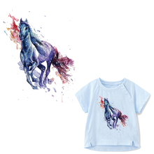 Watercolor Horse Patch  Heat Transfer Vinyl Iron on Parches for Clothing DIY T-shirt Applique Washable Stickers Clothes Press