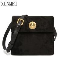 XUNMEI 2019 Vintage Women's Suede Bags Luxury Desinger Square Messenger Bags Brand Casual Flap Shoulder Crossbody Bags for Girls