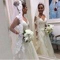 Una capa de tres metros de tul apliques de encaje blanco marfil catedral boda velos con Comb velos de novia para la boda