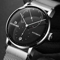 42mm szwajcaria BINGER mężczyźni oglądaj w stylu casual markowa automatyczne mechaniczne męskie zegarki męskie japonia ruch relogio masculino B 1187G 3 w Zegarki mechaniczne od Zegarki na