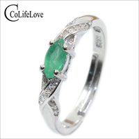 2017 Autumn Fashion Natural Emerald Ring 3 Mm 6 Mm Genuine Emerald Silver Ring Sterling Silver