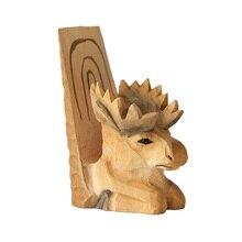 Madeira esculpida ornamentos veados, acessórios para casa, rack de telefone móvel, desktop decoração animal, escultura em Madeira artesanato