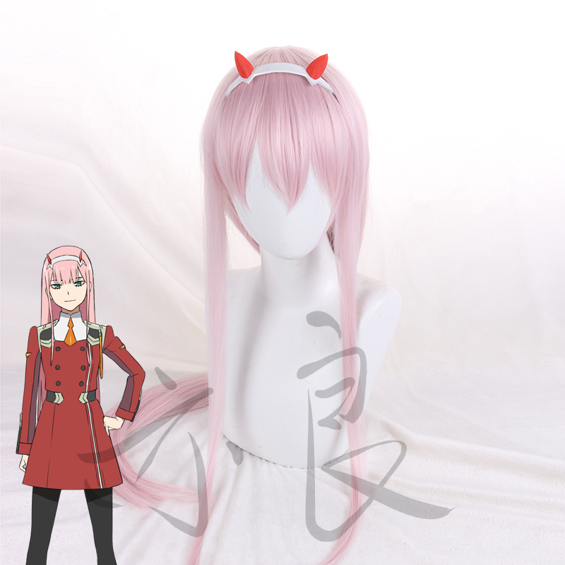 New 100CM DARLING in FRANXX 02 CODE 002 ZERO TWO Long Straight Anime Cosplay Wig