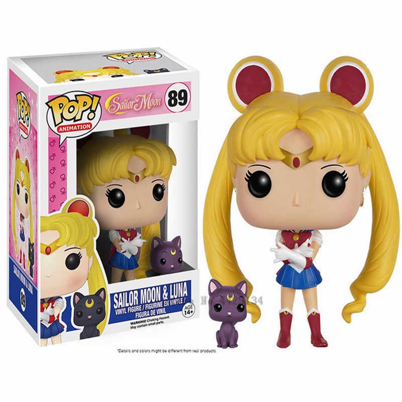 FUNKO Pop Sailor Moon & Luna Theme figurka statua zając postać figurka lalka Sailor Chibi Moon Sailor Neptune prezent dla dziewczyn