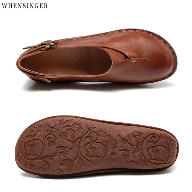 Whensinger - Women Flat Shoes loafers Genuine Leather Casual  Flats Shoe belt buckle Comfortable  Driving shoes Ventilation