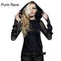 Новый Punk Rave Emo Рокабилли Готический Винтаж Топ Рубашки Хлопка способа Женщин M XL 3XL