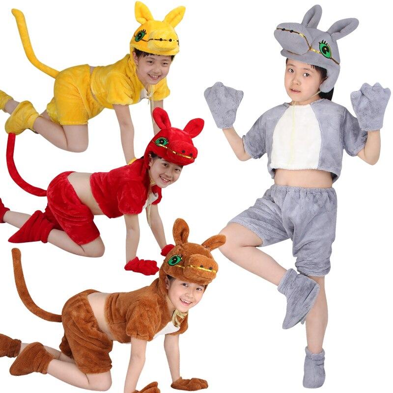 Free shipping Children's animal modeling costumes kindergarten dance ranch Kodak cow animal performance clothing for kids