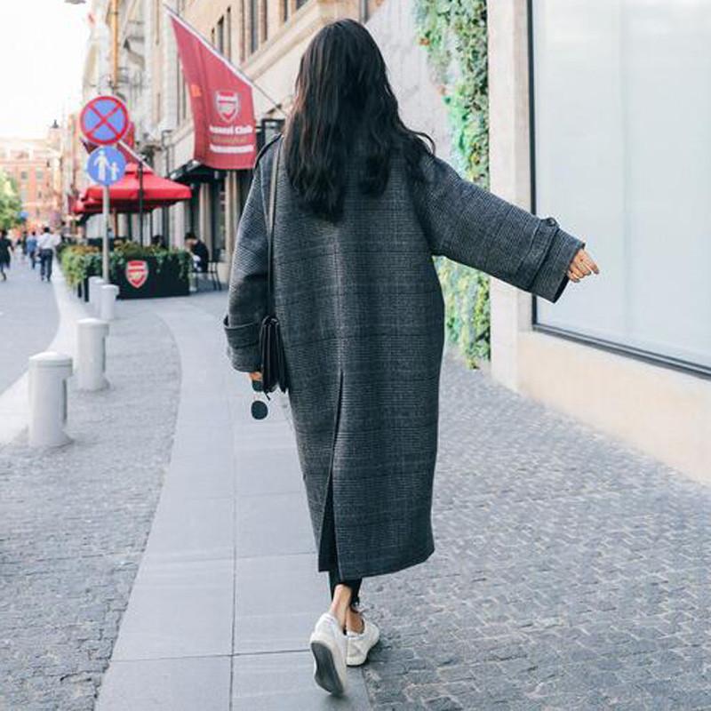 Laine De Nouvelle Long Casual Manteau Mode Hiver V41 Plaid Dames Cachemire 2018 Femme Outwear Chaud Femmes Lâche czI5Wq