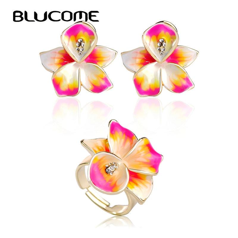 Blucome Adjustable Earrings Ring Set Joias Ouro Jewelry Sets Enamel Bijuterias Pink Flowers Joyas Wedding Women Girl Accessories
