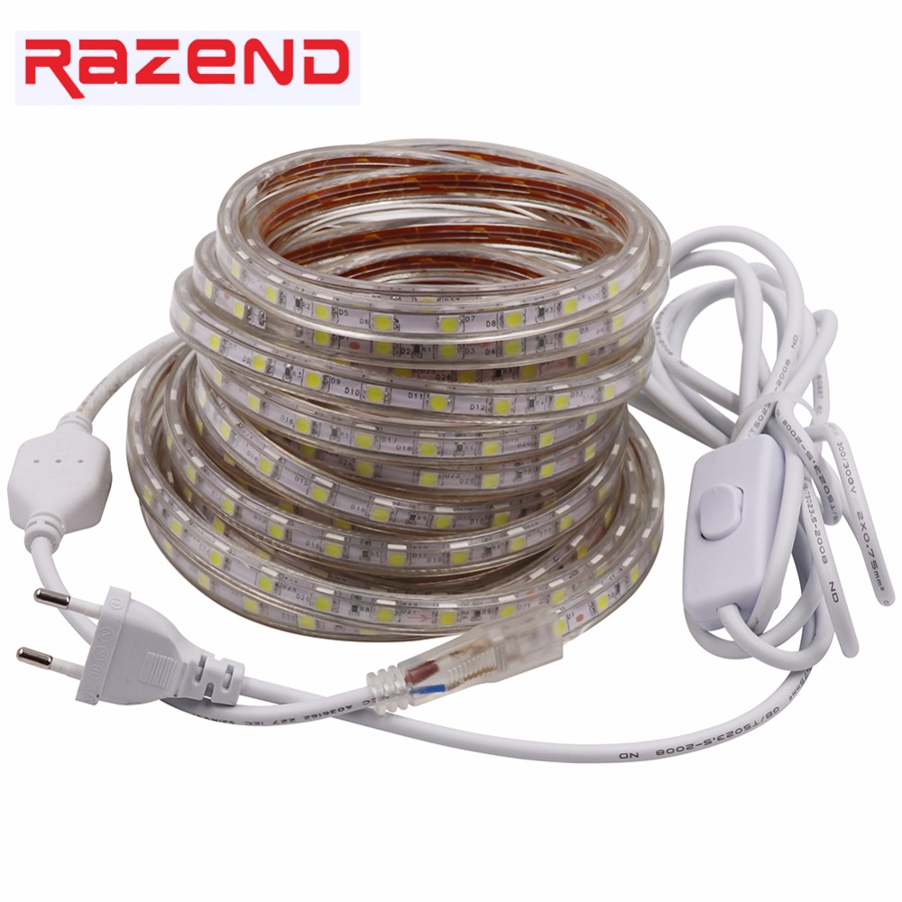 LED Strip Light AC 220V SMD 5050 Flexible LED Tape 60LEDs/m Ribbon for Living Room + EU plug ON/OFF switch 4M 5M 10M 12M 15M 20M стоимость