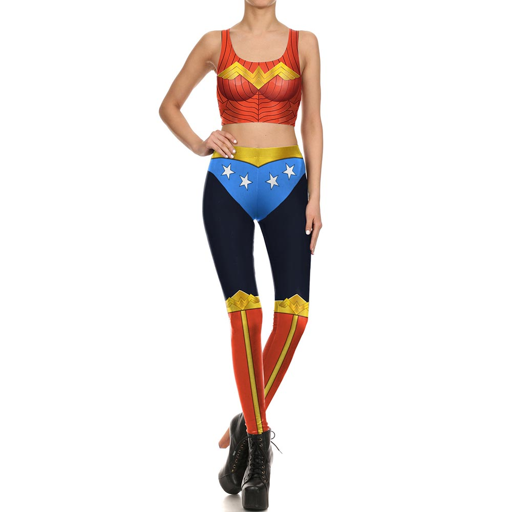 Wonder Woman Digital Printing Tank Top Leggings Outfit Fashion Cool Wonder Woman Cosplay Suit Skinny Tights Sportswear Halloween