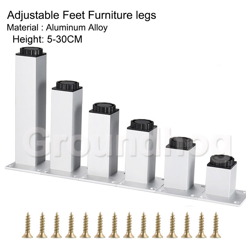4pcs/lot Aluminum Alloy Furniture Leg Adjustable Silver Square TV Cabinet Sofa Feet Height 50-30cm