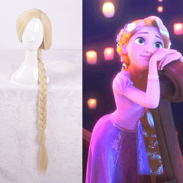 tangled rapunzel wig long light golden braid styled central part