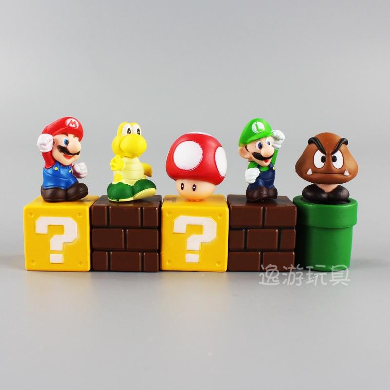 лучшая цена 5pcs/set decoration Super Mario Bros Bundle Blocks Figures Mario Goomba Luigi Koopa Troopa and Mushroom Mini Figures Toys NJ038