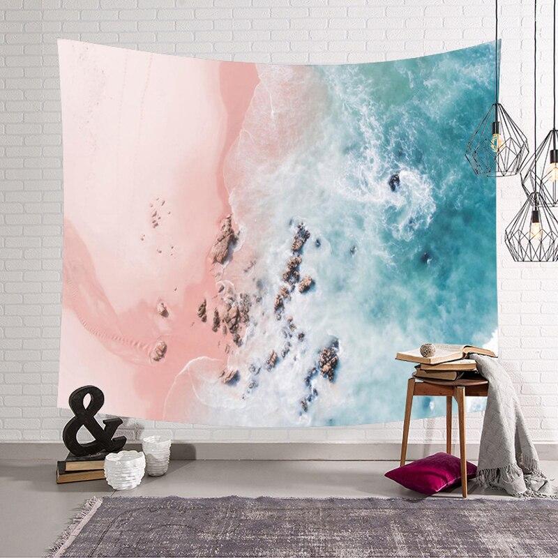 Индийский Гостиная настенный гобелен Beach Waves узор обеденный стол, открытый коврик для пикника пляжные полотенца Украшения в спальню Одеяло
