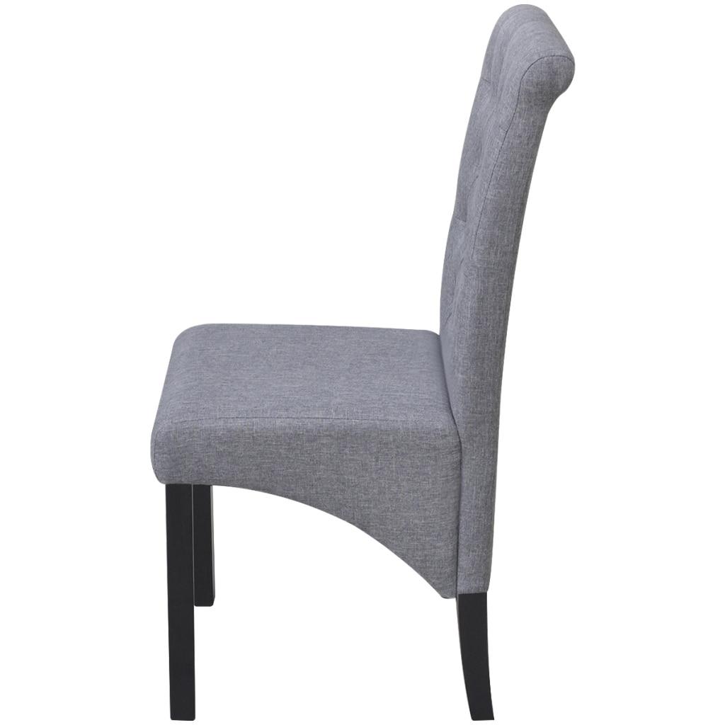 IKayaa 2 piezas de tela gris sillas tapizadas con respaldo Silla de ...