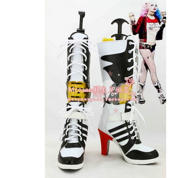 0d8ecdbd378734 Customize Batman DC Comic Suicide Squad Harley Quinn Cosplay Shoes Costume  Anime Boots High Heel Boots