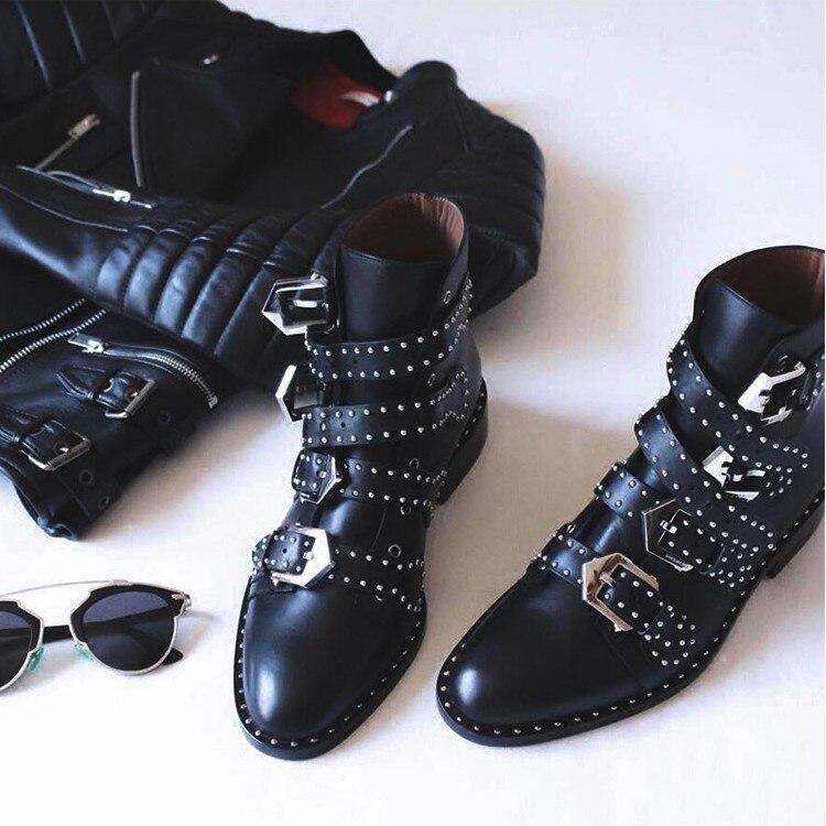 Bottes Femme Top En Chaussures Multi Noir Clouté Chaude Cuir As Chelsea Cheville Talons boucle Vente Bas Femmes Show À Rivets NOknwZP8X0