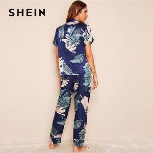 Image 2 - SHEIN Tropical Print Satin Pajamas for Women Casual Short Sleeve Pocket Sleepwear Summer Long Pants Lingerie Ladies Pajama set