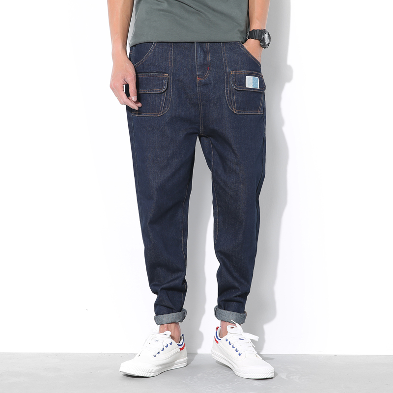 New Fashion 2016 Mens Jeans Cargo Blue Denim Pants Men Japan Style Casual Loose Drop Crotch