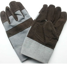 Free shipping 6pairs Cow split leather Welding working safety protecting gloves with wear-resistant palm and cotton back cloth