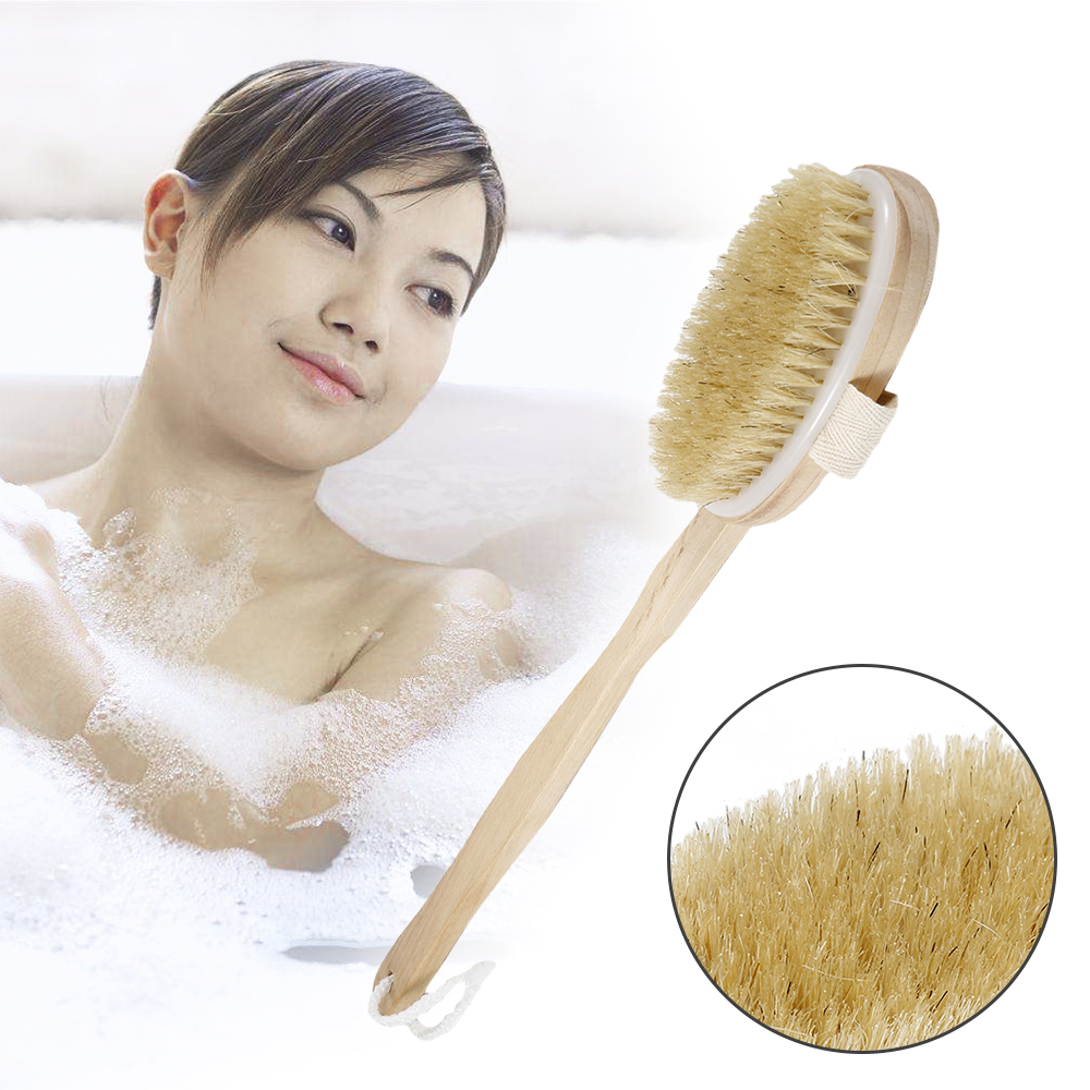 1Pc 2 In 1 Body Bath Boar-bristle Massage Shower Brush With Long Natural Wood Handle Bathroom Scrubber Remove Acnes Tool