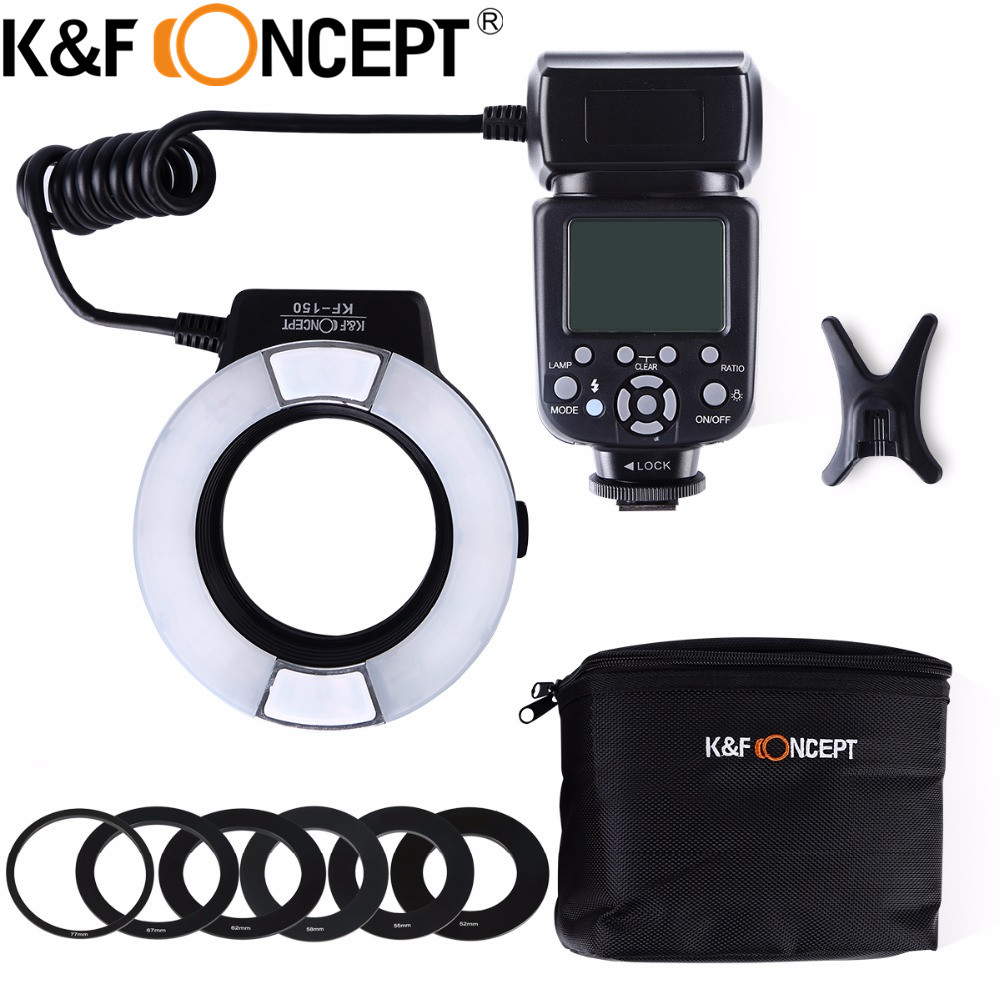 K&F CONCEPT KF-150-N i-TTL TTL Macro Ring Light LCD Display for Nikon D5100 D3200 D5300 D3300 D300 DSLR Cameras free shipping