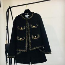 b4664ba753 2018 nouveau automne et hiver dames noir Tweed laine veste manteau + taille  haute Shorts deux pièces Shorts pour femme ensemble
