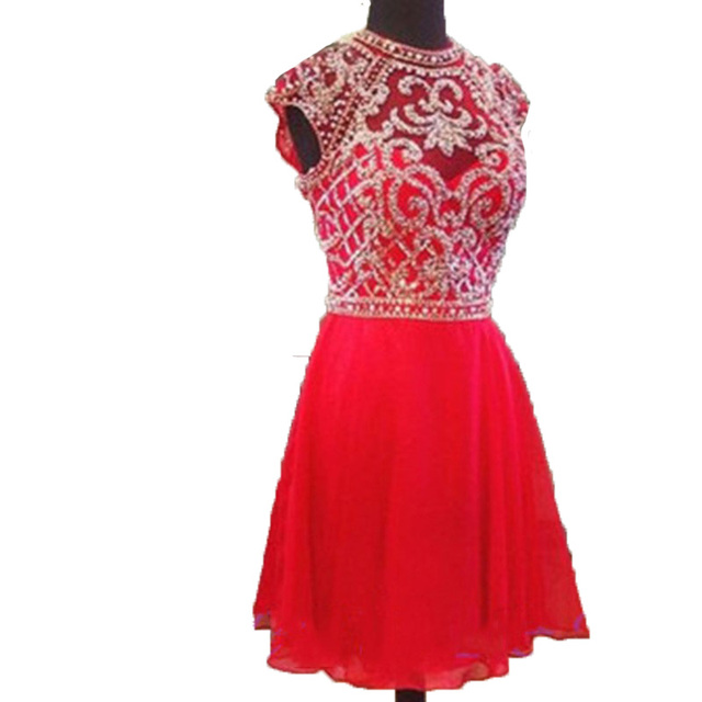 Short Cocktail Dresses 2017 Red Chiffon Prom Dress High Neck Party Dresses Robe Cocktail Plus Size Homecoming Dresses Short