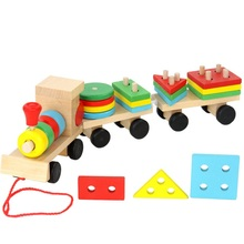 Creative Wooden Children Train Building Block Baby Early Learning Education Intelligence Toys D151