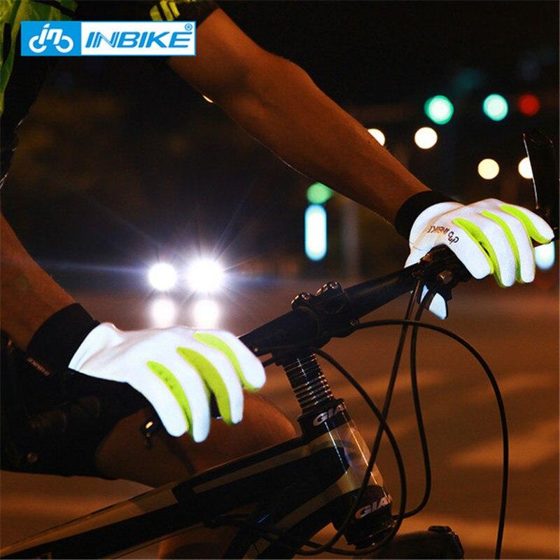 INBIKE Réfléchissant Vélo Gants Plein Doigt Vélo Gants Tactile Écran Du Bout Des Doigts Anti-slip Gel Palm Hommes Femmes Cyclisme Accessoires