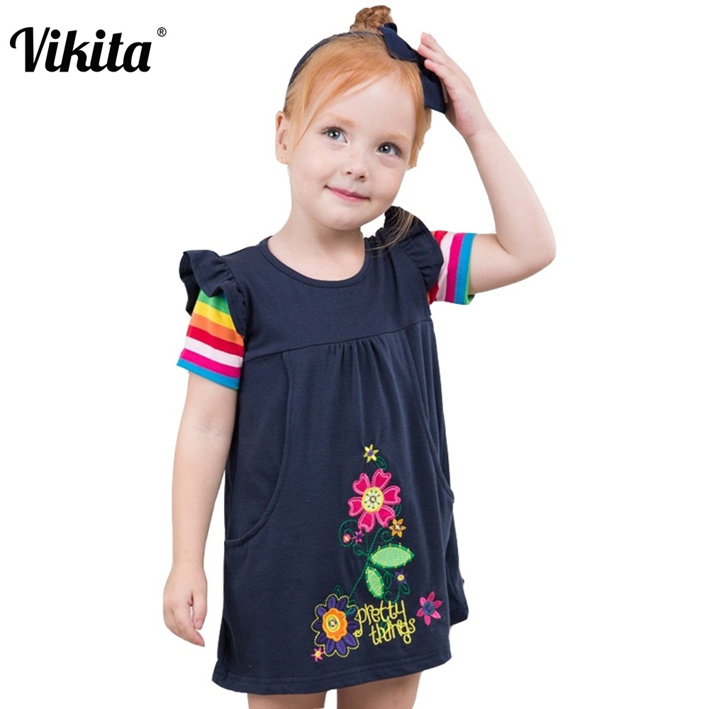 VIKITA Brand Kids Summer Dress For Girls Roupa Infantil Short Sleeve Floral Dresses Children Flower Cotton Casual Wear