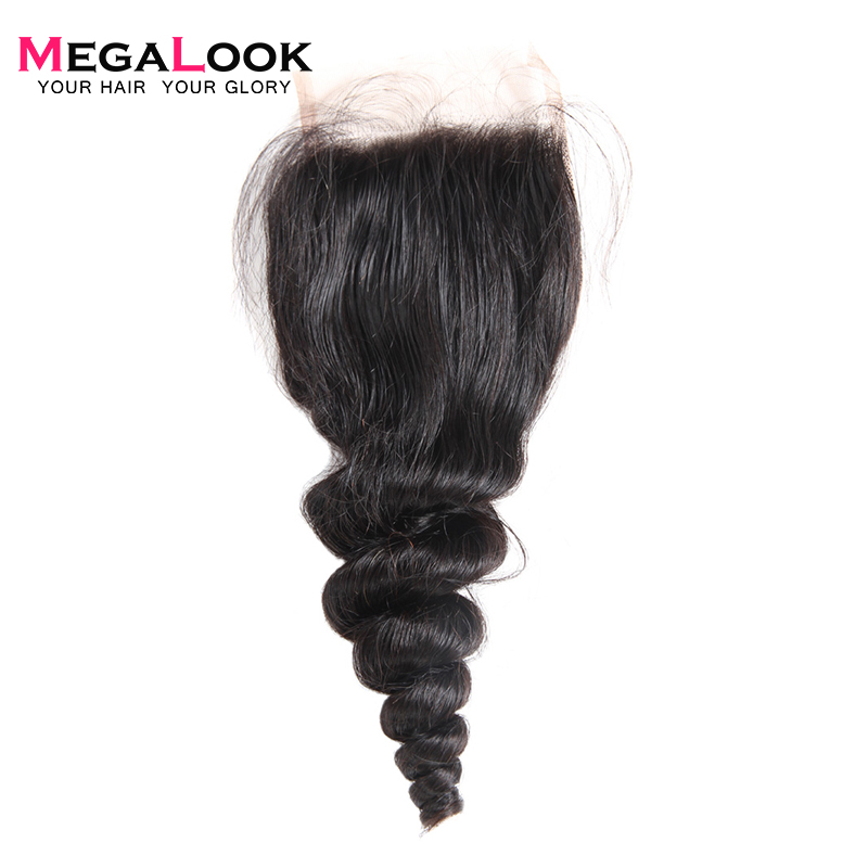 Megalook Human-Hair Lace Closure Natural-Color Wave Peruvian 10-22inch Loose Remy