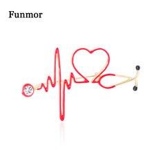 Funmor Special Stethoscope Brooch Electrocardiogram Enamel Pins Women Nurse Coat Uniform Blouse Bejouterie Banquet Daily Gifts