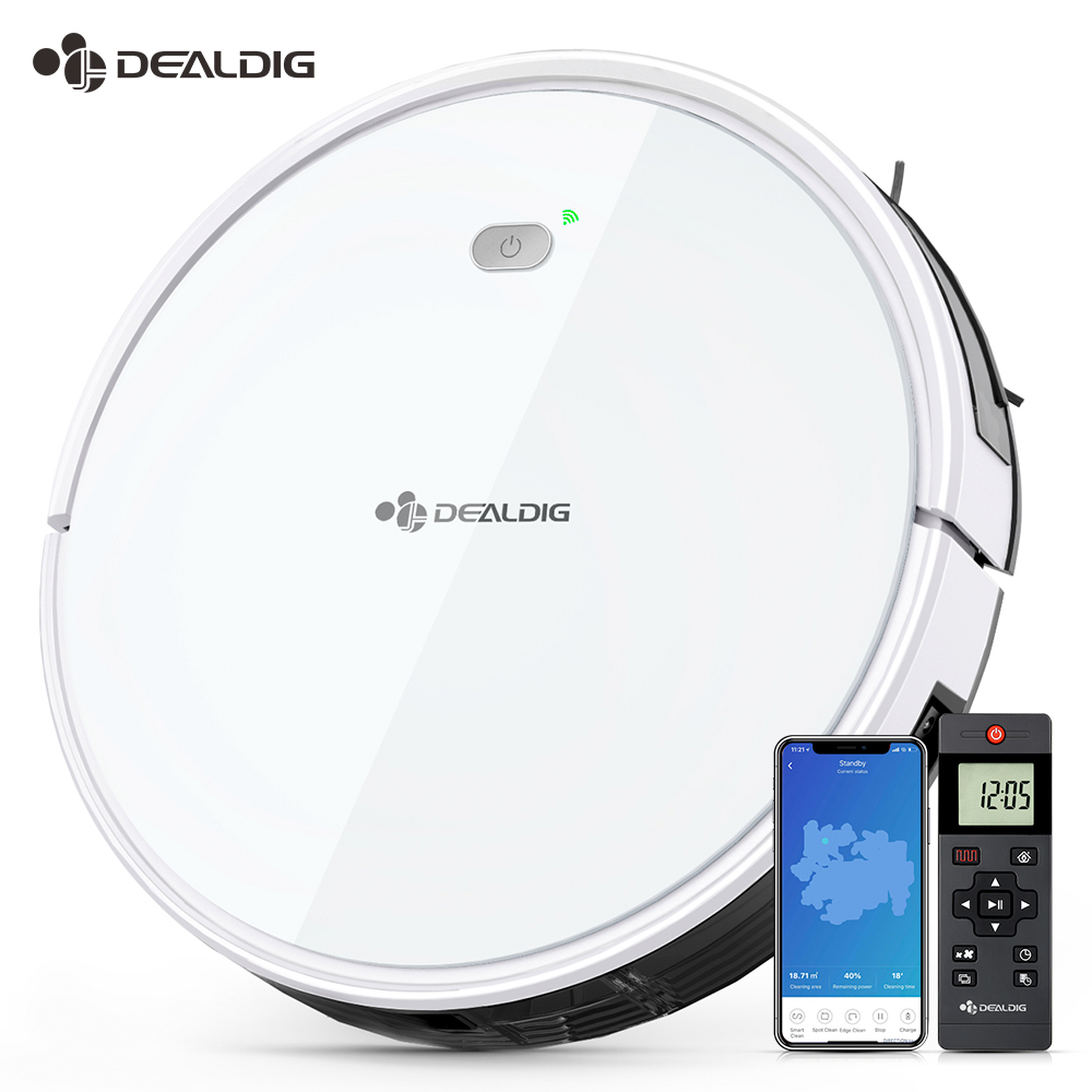 DEALDIG Robvacuum 8 Robot Vacuum Cleaner 1800 Pa Strong Suction Aspirator WiFi Connectivity Work For Alexa App Remote Control
