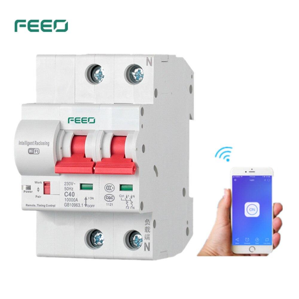 FEEO 2 P 32/40/63/80A télécommande Wifi disjoncteur Intelligent automatique protection contre les courts-circuits de surcharge