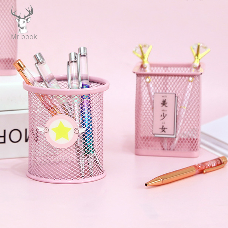 Kawaii Moon Cat Pink Metal Stationery Storage Box Household Manage Case Pencil Pen Holder Stand Student Stationery Supplies