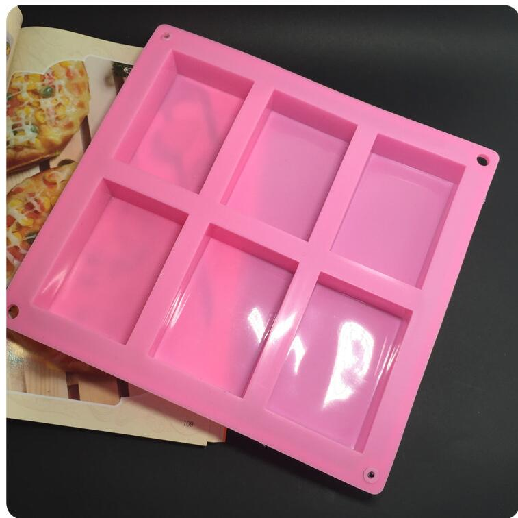 wholesale 100pcs/sets 6 lattice rectangular pastry molds 100ml silicone cake bakeware mold soap moulds