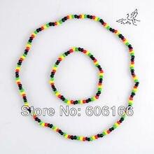 Раста регги панк хип-хоп стеклянный бисер ожерелье и браслет набор ювелирных изделий эластичные ожерелья модные ювелирные изделия