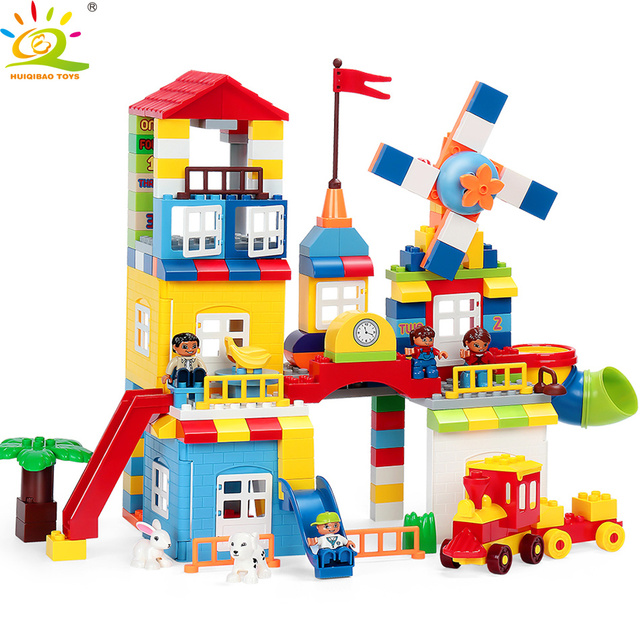 HUIQIBAO TOYS 216pcs City Windmill House Big Building Blocks For Children Legorreta Duploed Steam Train Car Kit Figure Brick set