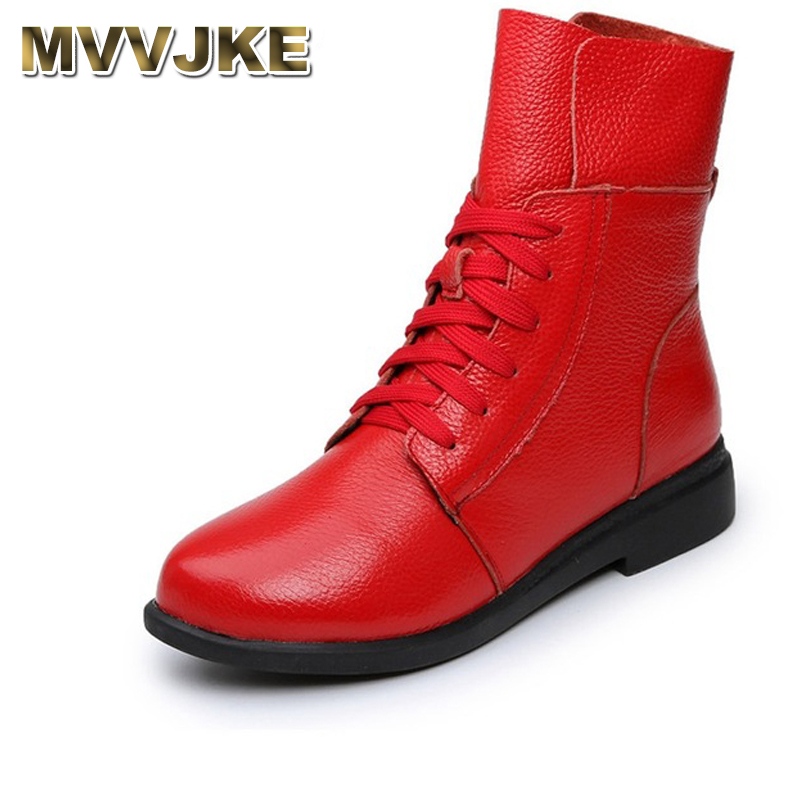 MVVJKE Women s Boots Ankle Boot Genuine Leather Lace Up Winter Boot Ankle Boots For Women