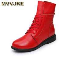 MVVJKE Women's Boots Ankle Boot Genuine Leather Lace Up Winter Boot Ankle Boots For Women Genuine Leather Low Heel Female Shoes