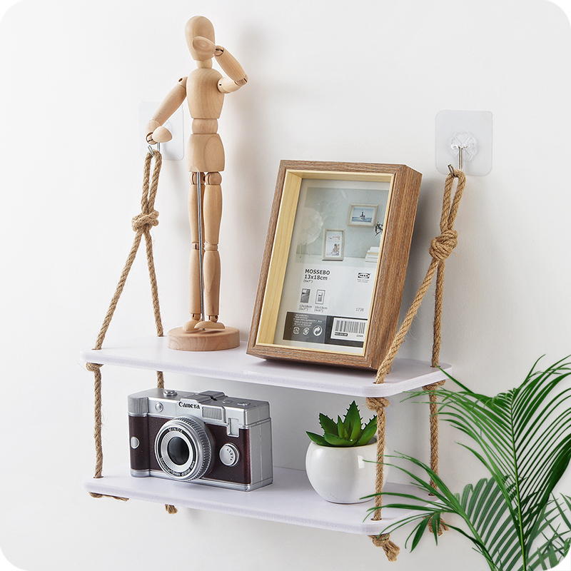 2 Tiers Wood Wall Shelf With Hemp Rope Shelves Wall Hanging for Living Room as Bookshelf Storage Rack Wall Decorations Полка